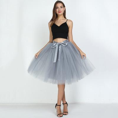 Tulle Mesh Skirt Pleated Wedding Bridesmaid Skirt wedding Grey One Size