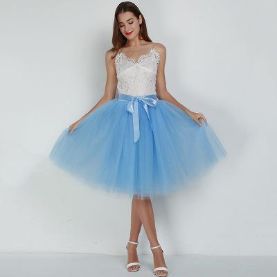 Tulle Mesh Skirt Pleated Wedding Bridesmaid Skirt wedding Lake blue One Size