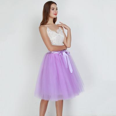 Tulle Mesh Skirt Pleated Wedding Bridesmaid Skirt wedding lavender One Size