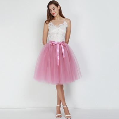 Tulle Mesh Skirt Pleated Wedding Bridesmaid Skirt wedding Light Pink One Size