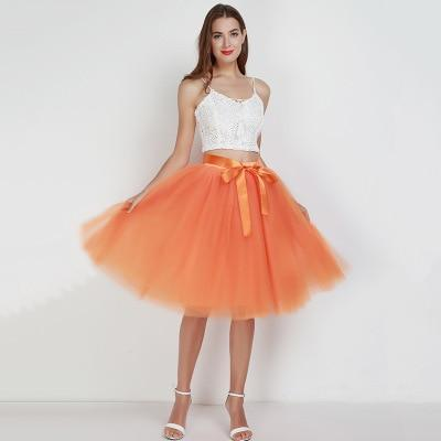 Tulle Mesh Skirt Pleated Wedding Bridesmaid Skirt wedding Orange One Size