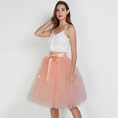 Tulle Mesh Skirt Pleated Wedding Bridesmaid Skirt wedding Peach One Size