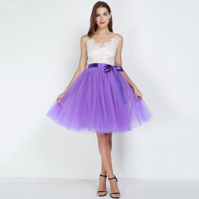 Tulle Mesh Skirt Pleated Wedding Bridesmaid Skirt wedding Purple One Size
