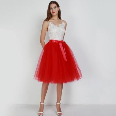 Tulle Mesh Skirt Pleated Wedding Bridesmaid Skirt wedding Red One Size