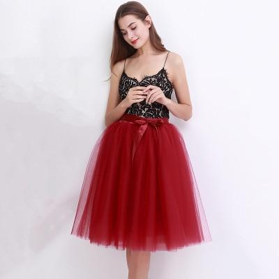 Tulle Mesh Skirt Pleated Wedding Bridesmaid Skirt wedding Wine Red One Size