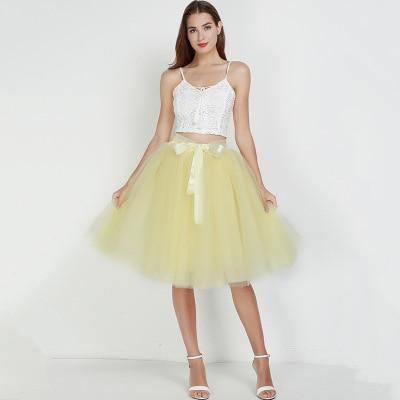 Tulle Mesh Skirt Pleated Wedding Bridesmaid Skirt wedding Yellow One Size