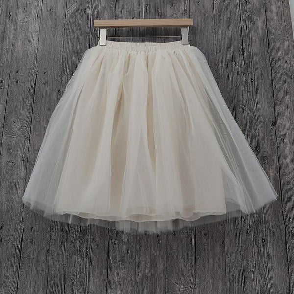 Tulle Pleated Skirt Beige L