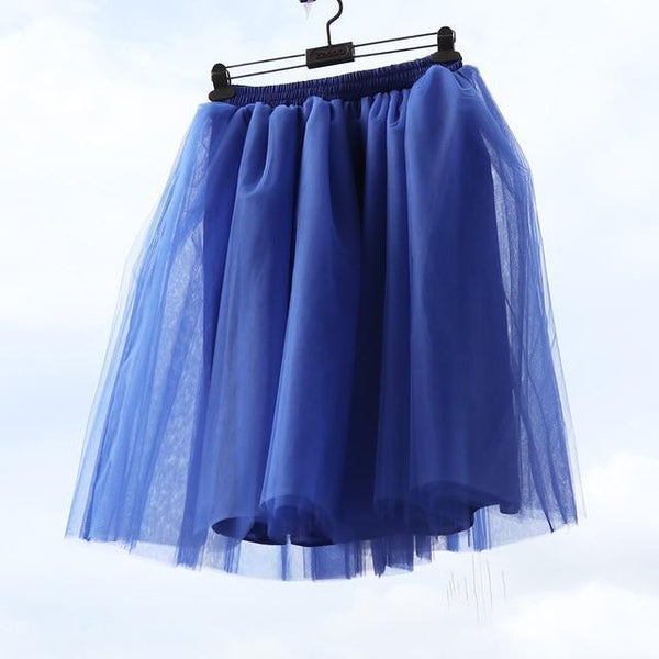 Tulle Pleated Skirt Blue L