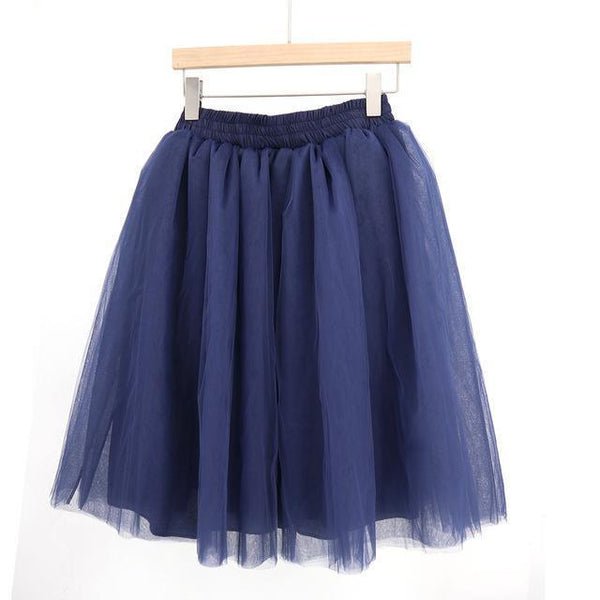 Tulle Pleated Skirt Dark Blue L