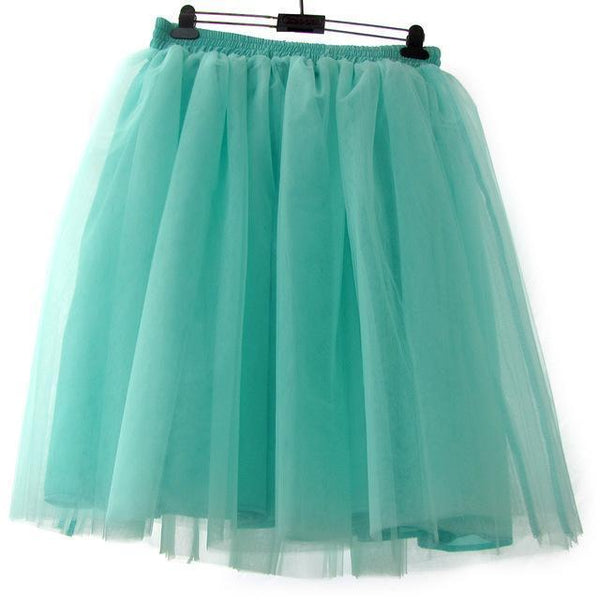 Tulle Pleated Skirt Green Mint L
