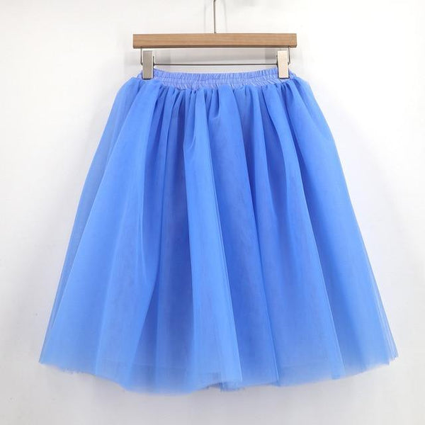 Tulle Pleated Skirt Light Blue L