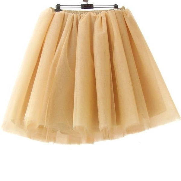 Tulle Pleated Skirt Peach L