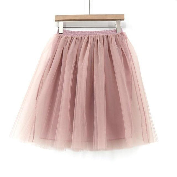 Tulle Pleated Skirt Pink L