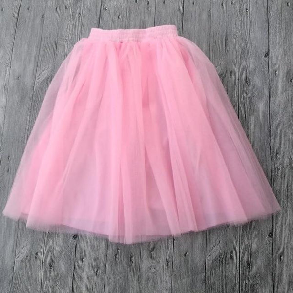 Tulle Pleated Skirt Pink Rose L