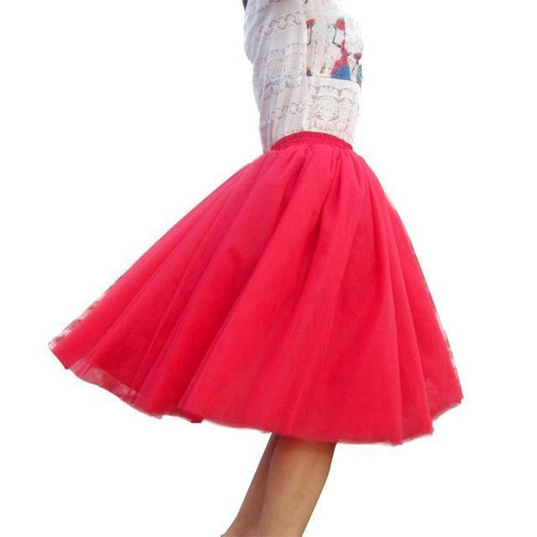 Tulle Pleated Skirt Red L