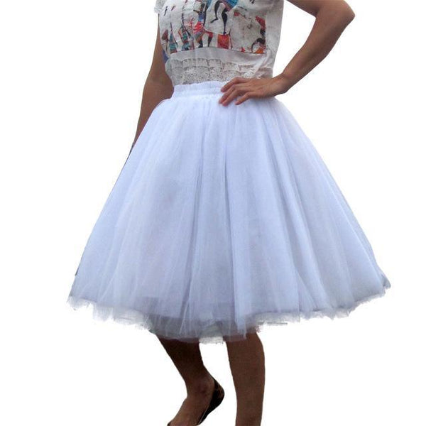 Tulle Pleated Skirt white L