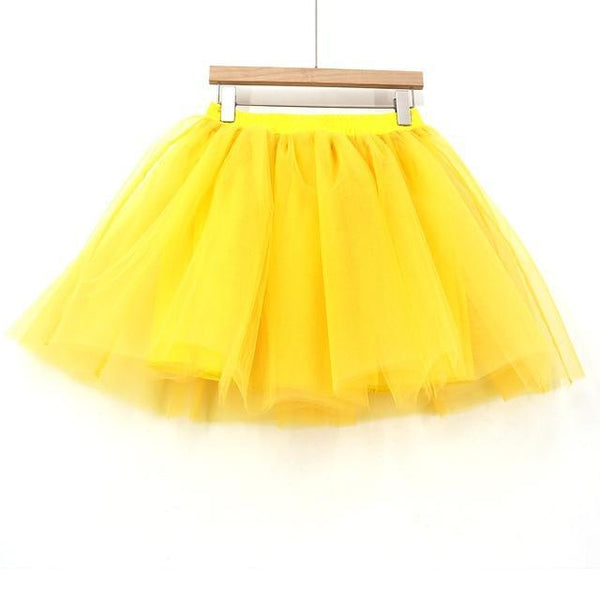 Tulle Pleated Skirt Yellow L