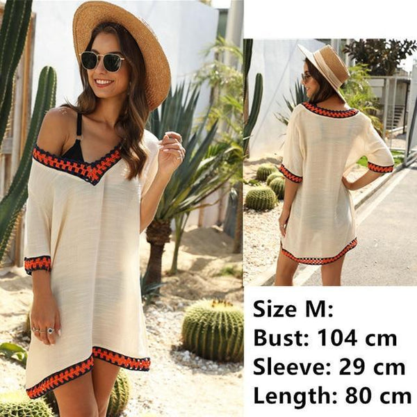 Tunic Beach Dress Cover up Wrap For Women Chiffon swimwear beige One Size
