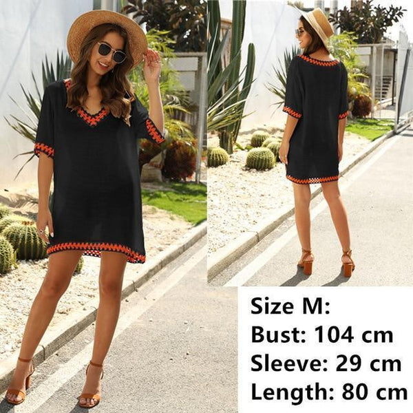Tunic Beach Dress Cover up Wrap For Women Chiffon swimwear black/Red One Size