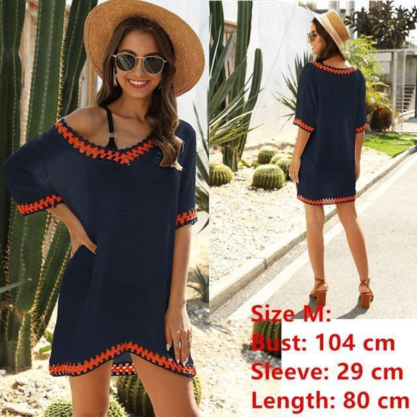 Tunic Beach Dress Cover up Wrap For Women Chiffon swimwear Navy One Size