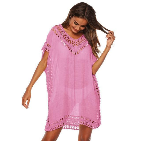 Tunic Beach Dress Cover up Wrap For Women Chiffon swimwear Pink One Size