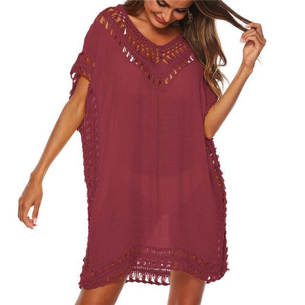 Tunic Beach Dress Cover up Wrap For Women Chiffon swimwear Red One Size