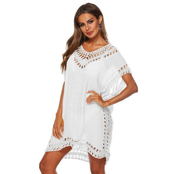 Tunic Beach Dress Cover up Wrap For Women Chiffon swimwear White One Size
