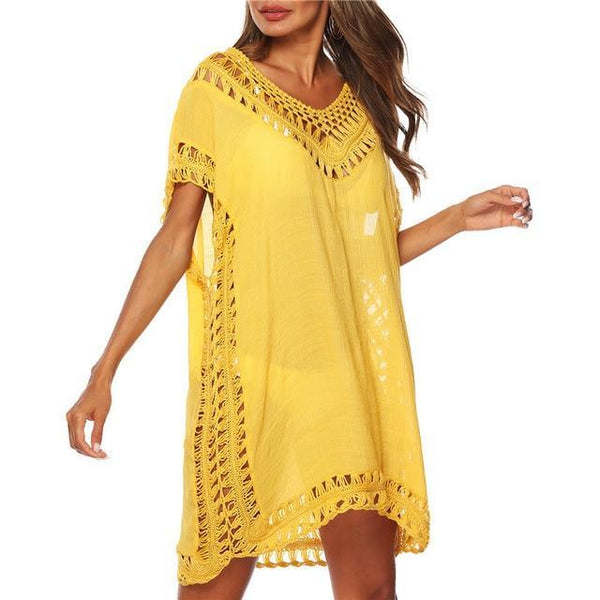 Tunic Beach Dress Cover up Wrap For Women Chiffon swimwear Yellow One Size