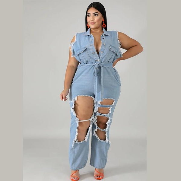 Turn Down Collar Sleeveless Denim Jumpsuit jumpsuit Sky Blue XXL