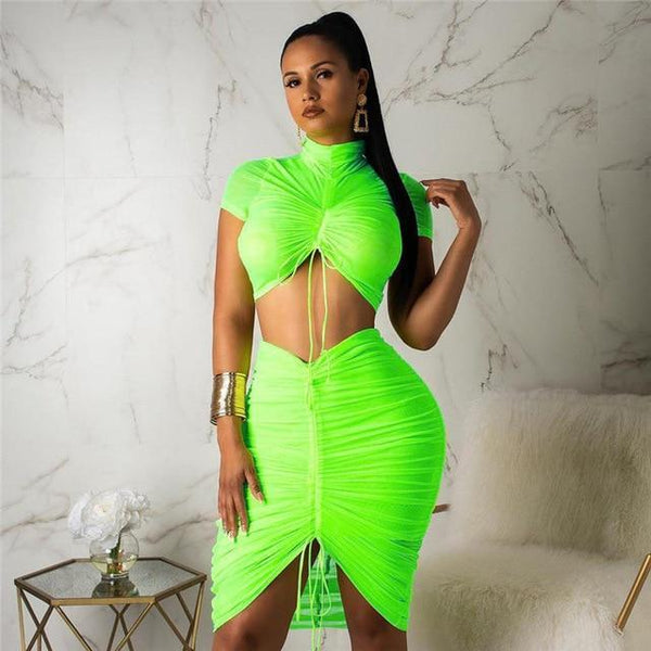 Turtle Neck Neon Pleated Crop Top Skirt Sets
