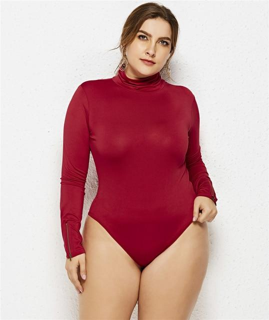 Turtleneck Sexy Bodycon High Waist Romper rompers Burgundy 6XL