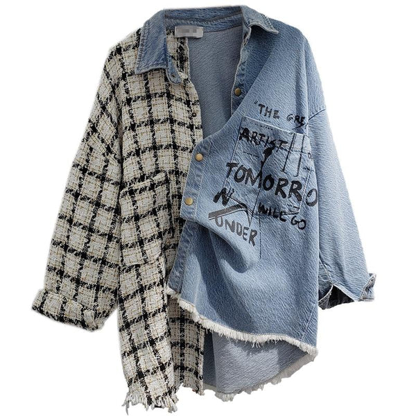 Tweed Women Denim Shirt Jacket Coats & Jackets