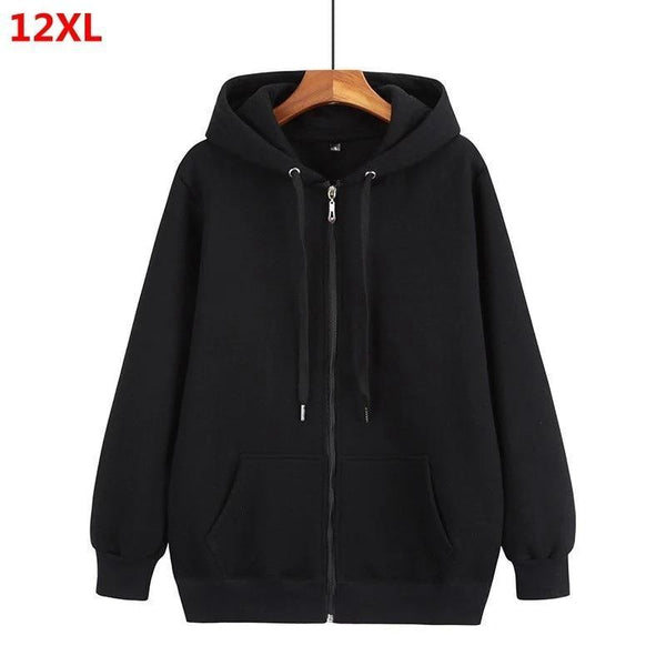 Unisex front-zipper hoodie sweatshirt with string-tie neck activewear Black XL