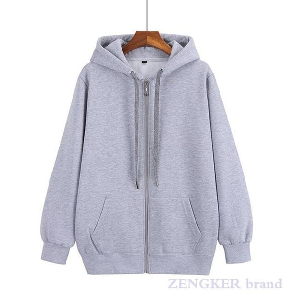 Unisex front-zipper hoodie sweatshirt with string-tie neck activewear Gray 10XL
