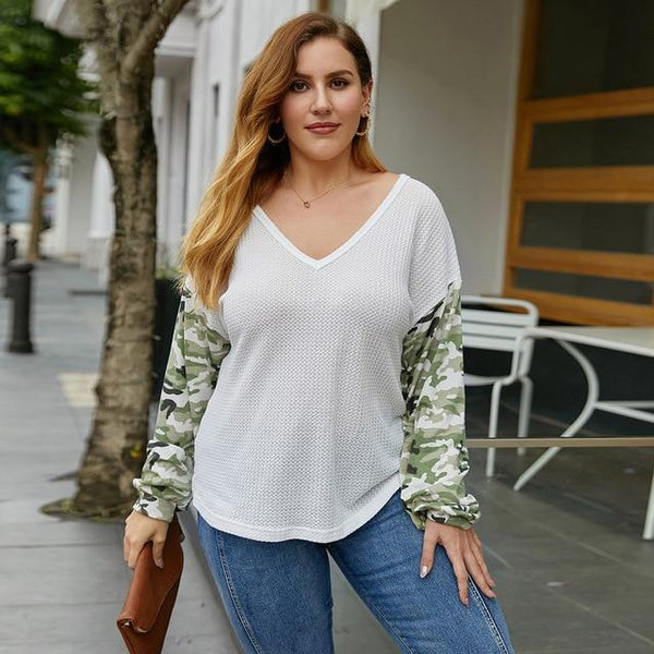 V Neck Camouflage Long Sleeve Blouse blouse White XL