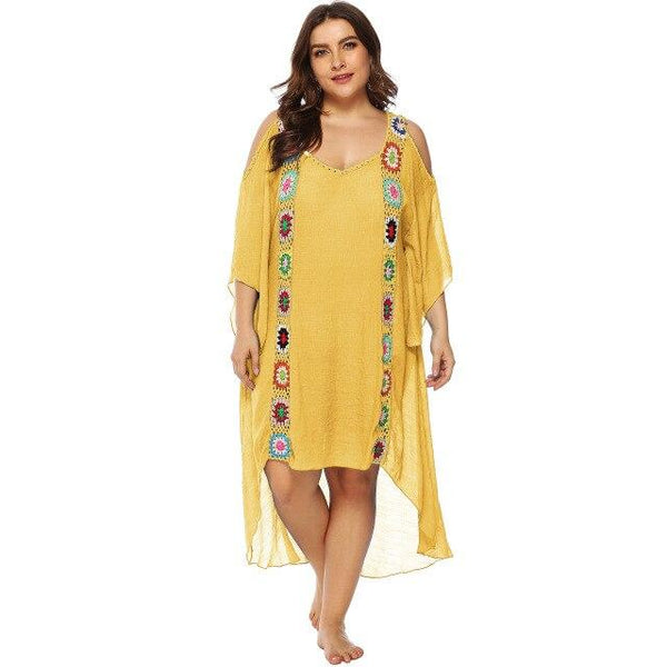 V Neck Cold Shoulder Flowers Long Dress dress Yellow XXXL