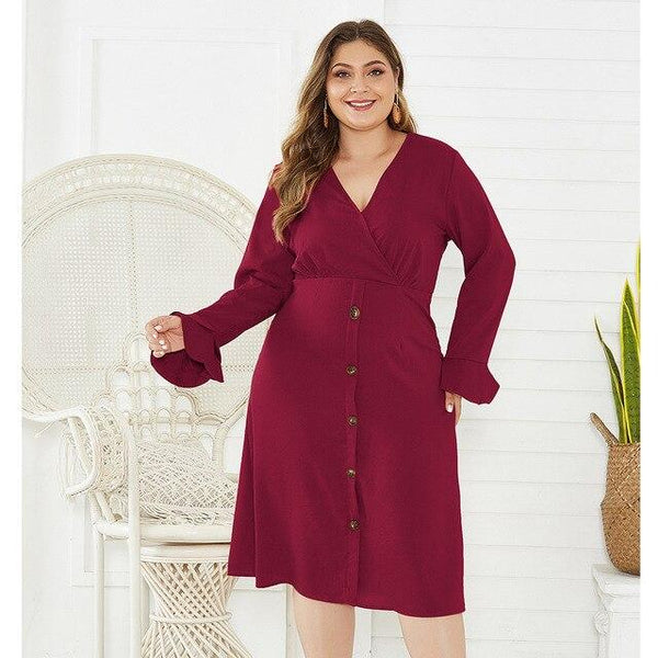 V Neck Flare Long Sleeve Solid Casual Midi Dress dress Burgundy XXL