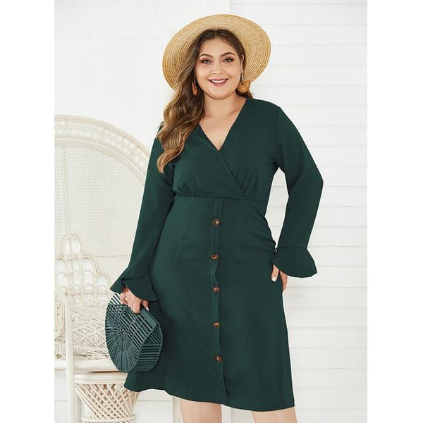 V Neck Flare Long Sleeve Solid Casual Midi Dress dress green 4XL