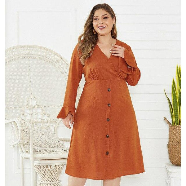 V Neck Flare Long Sleeve Solid Casual Midi Dress dress Orange 4XL