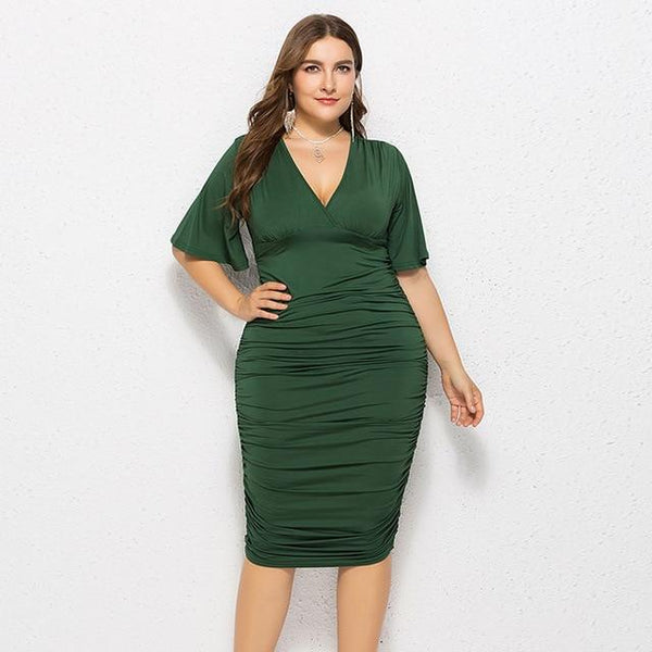 V Neck Flare Short Sleeve Sexy Pencil Dress dress Army Green L