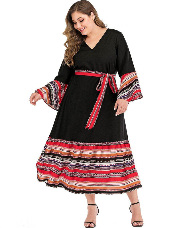 V Neck Flare Sleeve Colorful Striped Patchwork Long Dress dress