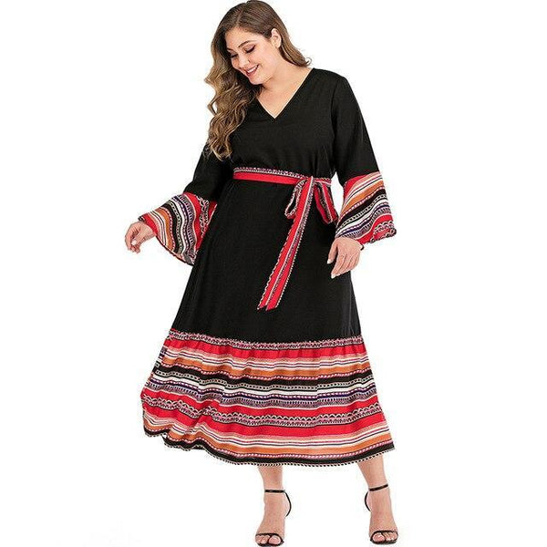 V Neck Flare Sleeve Colorful Striped Patchwork Long Dress dress Black XL
