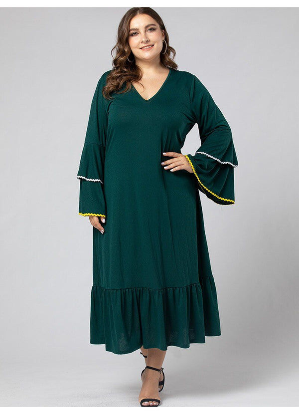 V Neck Flare Sleeve Ruffles Green Casual Dress dress