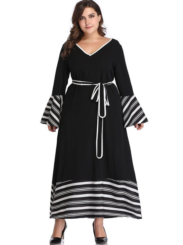 V Neck Flare Sleeve Striped Print Maxi Long Dress dress