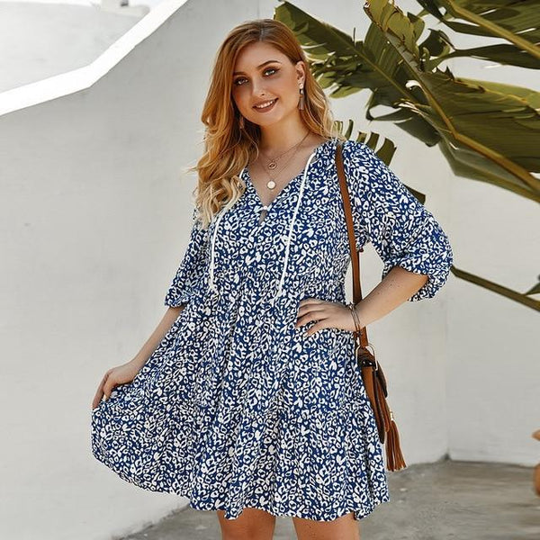 V Neck Half Sleeve Floral Print Boho Beach Dress dress Blue XL