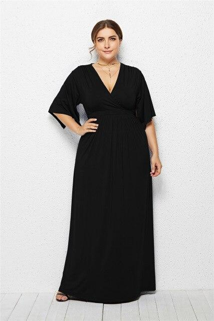 V Neck Half Sleeve High Waist Solid Casual Dress dress Black XXL
