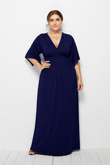 V Neck Half Sleeve High Waist Solid Casual Dress dress Blue XXXL