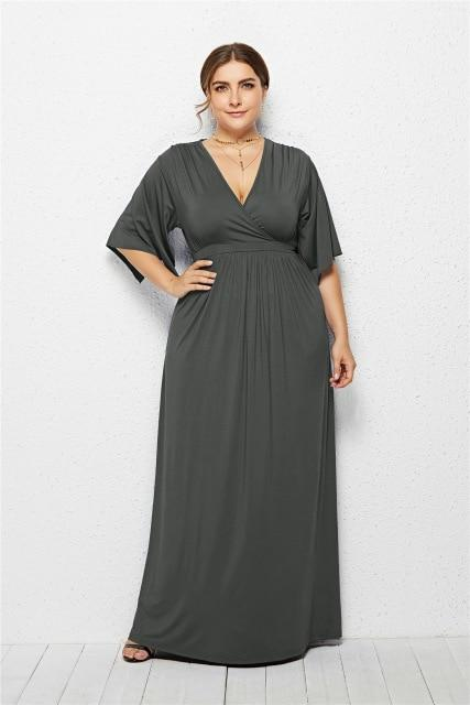V Neck Half Sleeve High Waist Solid Casual Dress dress Gray XXXL