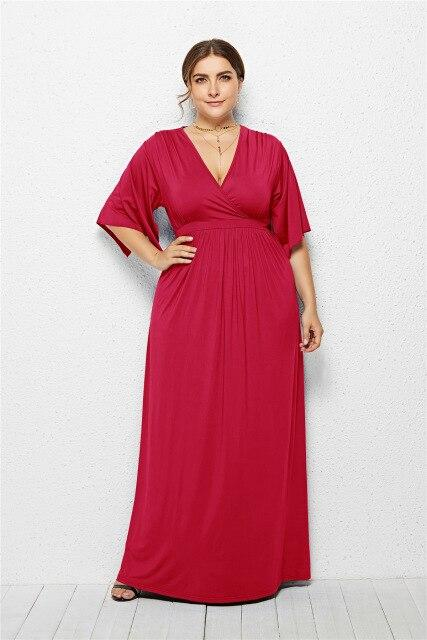 V Neck Half Sleeve High Waist Solid Casual Dress dress Red XXL