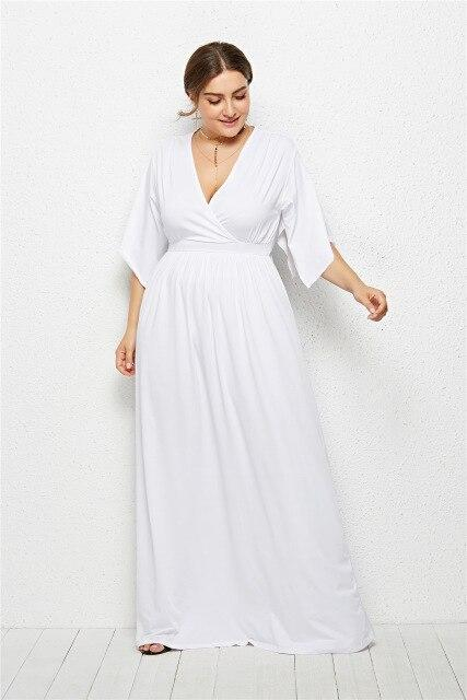 V Neck Half Sleeve High Waist Solid Casual Dress dress White XXXL